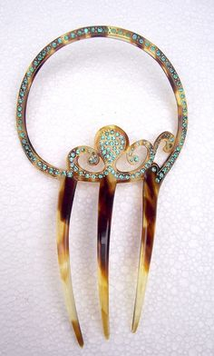 Art Deco hair comb Spanish comb unusual circle by ElrondsEmporium