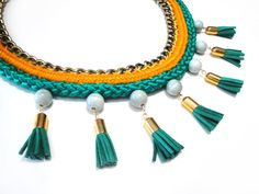 Rope statement necklace with suede tassels