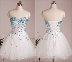 Sweetheart Blue beads White Waved Tulle Prom Dress/ Girl prom dress/Sweet girl dress  This dress can be custom made, both size and color can be custom made. Custom size and color made will charge for no extra. If you need a custom dress, please send us messages for your detail requirements.  ...