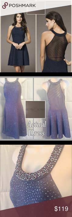 "NWT• Betsy and Adam• Short Glitter Bead Neck Color: Dark Grey w/ iridescent Beads Sheer Back •;Flirt all night as you glow in this ravishing glitter boucle beaded halter neck with a sheer back. The Sheer at the top is 7"" wide• Bust 32"" • Hips 40"" (full skirt) • Length 33"" • Made in 🇺🇸 U.S.A. Beautiful @ Amazing Bead work• 95% Polyester •5% Spandex• Lining 100% Polyester Betsy & Adam Dresses Midi"