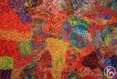 """Wild Flowers After Rain"" by Barbara Weir 178cm x 120cm POA  http://www.aboriginalartstore.com.au/artists/barbara-weir/wild-flowers-after-rain/"