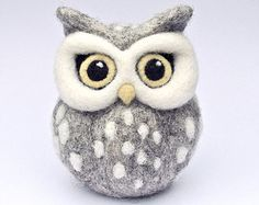 CUSTOM needle felted OWL sculpture soft sculpture grey owl ornament spotty felted owl grey owl white dots yellow beak