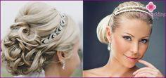 Hochzeit Frisuren mit der Felge auf Gummiband mit Blumen oder einem Schleier, Fotos