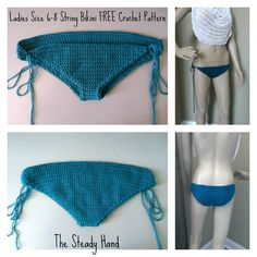 FREE Crochet Pattern: Ladies Size 6-8 String Bikini Bottom