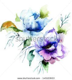Beautiful Blue flower, Watercolor painting
