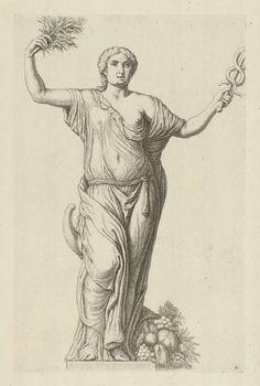 Hubert Quellinus | Personificatie van Vrede, Hubert Quellinus, Artus Quellinus, 1655 - 1668 | De personificatie van Vrede, naar een beeld dat bovenop het timpaan (aan de Damzijde) van het Stadhuis op de Dam te Amsterdam staat. De personificatie van Vrede, met in de hand een mercuriusstaf, een vredestak en de hoorn des overvloeds bij haar, refereert in haar oorspronkelijke context (op het stadhuis) onder andere aan het stichtingsjaar 1648 van het stadhuis, waarin vrede met de Spanjaarden werd…