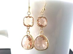 Summer Romance Peach Gold Earrings by LaLaCrystal on Etsy,