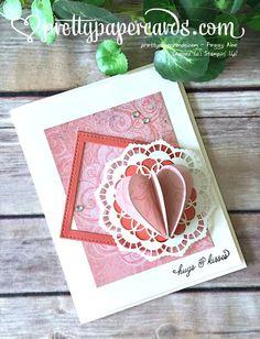 Stampin' Up! 3-D Valentine! #sealedwithlove #fallingflowers #palsbloghop #valentine #valentinecard #handmadecards #stampinup #prettypapercards #lacevalentine