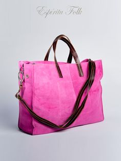 TOTE BAG $130.- leather suede in fuchsia, collection available at espiritufolkstore.com