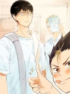 Noya is taking a selfie with Kageyama and Tsukki ;3 #haikyuu