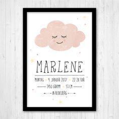 Drucke & Plakate - Print Wolke mit Geburtsdaten, Poster A4, rosa - ein Designerstück von ngmSTYLE bei DaWanda
