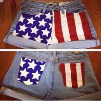 American Flag High Waisted Shorts