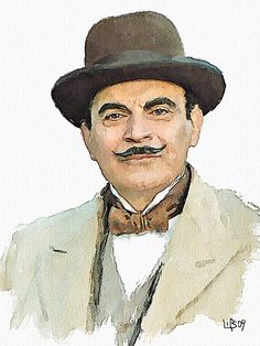 David Suchet as Hercules Poirot - Watercolor portrait by Vitaly Shchukin- As a classically trained artist turned mystery writer you can imagine why I appreciate this. Hercule Poirot, Agatha Christie's Poirot, David Suchet, Miss Marple, Film Serie, Watercolor Portraits, The Villain, Sherlock Holmes, Mystery
