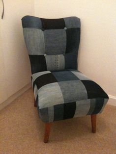 1950's Cocktail Chair 'Dirty Sue'. My upholstery project this year, completed. Patchwork denim. Blue.