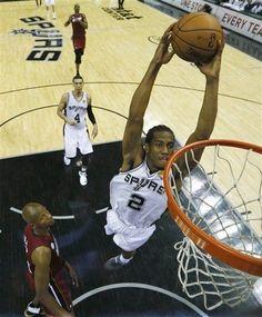 Kawhi soars for a dunk. (June 11, 2013 | NBA Finals 2013 | Game 3 | Miami Heat @ San Antonio Spurs | AT Center in San Antonio, Texas)