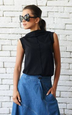 Black Casual Top/No Sleeve Summer Tunic/Everyday Black