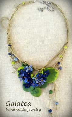 Blue Flowers Statement necklace Polymer clay by GalateaJewelry