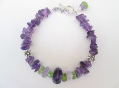 Facet Rough Amethyst, Faceted Rough Peridot, Amethyst Chip 925 Silver Toggle Bracelet Designed by Blue Tortue