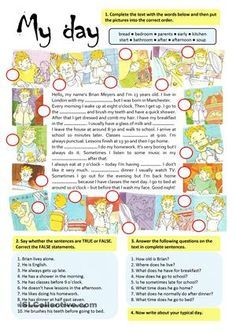 This (fully editable) worksheet is designed to practise vocabulary and reading comprehension on daily activities.First students have to complete the blanks (with the words provided) and put the pictures into the correct order according to the text. Then there are 2 reading comprehension tasks and 1 written task. Greyscale and key are included. - ESL worksheets