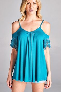 This blue lace off the shoulder top is cute from day to night.