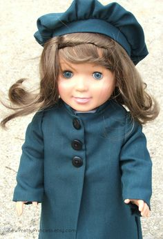 Green Coat and Berret for American Girl by SewPrettyPrincess