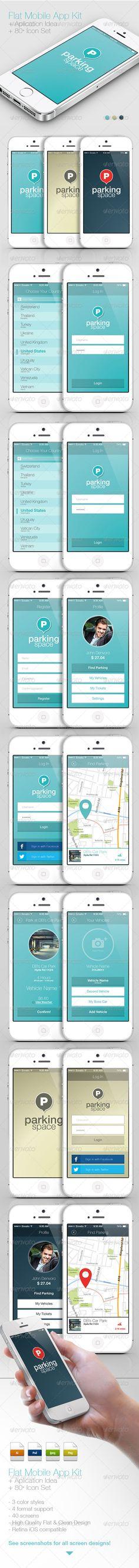 Flat Mobile App Kit / App Idea / Icon Set