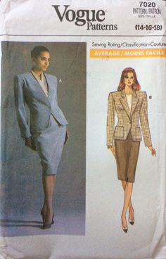 Vogue 7020 UNCUT Misses Jacket & Skirt by Lonestarblondie on Etsy