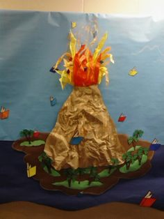 volcano made from tissue paper and brown paper towels