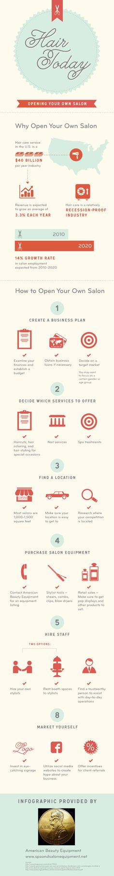 With a detailed business plan, the right location, and quality salon equipment, you can open your own beauty business. Check out this infographic to s