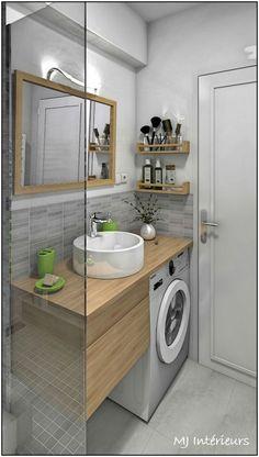 txtDas Studio befindet sich in Royan - La Salle d& mit lave-linge sous le plan de . Small Bathroom Plans, Small Bathroom Storage, Bathroom Layout, Modern Bathroom Design, Bathroom Interior Design, Small Bathrooms, Small Storage, Bathroom Designs, Amazing Bathrooms