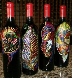 """""""One-of-a-kind hand painted wine bottles for your art collection. These bottles of Cabernet Sauvignon are painted by renowned artist Charles Bibbs and come with a certificate of authenticity and a shadow box frame for permanent display. Each piece is signed by the artist. To inquire call the Canyon Crest Winery at 951-369-9463 """""""