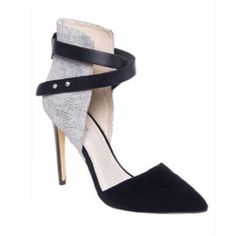 Joes D'orsay Heel with Ankle Wrap Gorgeous shoe! Black and white pebbles leather with black suede toe. Soles have noticeable wear but shoe is in very good condition! Joe's Jeans Shoes Heels
