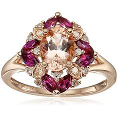 10k Pink Gold Morganite, Rhodolite and Diamond Cushion Ring