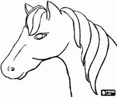 Horse's head, side view coloring page