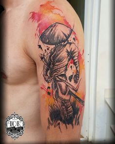 Stranger samurai warrior tattoo #graphic #watercolor #lines