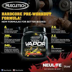 MuscleTech NANO VAPOR Pre-Workout Formula Product Ads, Nice Body, Drink Bottles, Clinic, Strength, Muscle, Workout, Drinks, Drinking