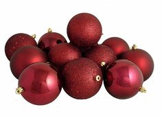 """12ct Burgundy Red Shatterproof 4-Finish Christmas Ball Ornaments 4"""" (100mm)"""