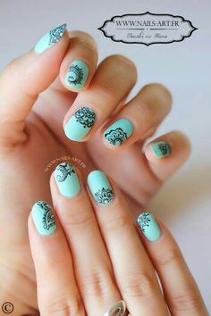 Beautiful light blue nail art