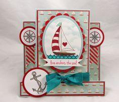 The Rubber Cafe Design Team Blog: Sailboat Center-step Card by Kristine Reynolds