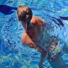 Pool - oil on canvas - 100 x 100 cm, Jean-Pierre Kunkel - oil paintings, Fine art, hyperrealism painting Hyperrealism Paintings, Hyperrealistic Art, Oil Paintings, Underwater Painting, Hyper Realistic Paintings, Spirited Art, Beach Artwork, Illustrator, Pictures To Paint