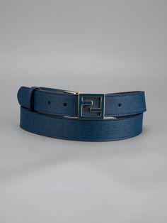 Petrol blue leather belt from Fendi featuring a signature black double F logo print and a signature double F tonal with gold-tone trim logo buckle.