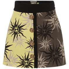 Fausto Puglisi Crepe de Chine Star Mini Skirt (31,005 DOP) ❤ liked on Polyvore featuring skirts, mini skirts, brown mini skirt, a line skirt, short skirts, high waisted short skirts and a line mini skirt