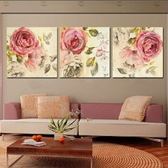 Amazon.com : 3 Panels Art Modern Decorative Painting Picture Canvas print Living Room Rose flower : Everything Else