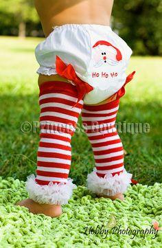 White and Red Ruffled Stripes Baby Legwarmers