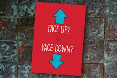 "Heads or Tails? Oh wait! Wrong game...are is it?!?!? <naughty grin>  Outside reads: Face up or Face down?  + Card measures A7 (5"" x 7"") on 110# bright white matte card stock + Blank inside for a special message from you + Your choice of color 80# square-flap envelope (Looks great with Teal, Kraft, and Gray) + Mails with a regular USPS postage + Each card practices safe shipping in a polypropylene sleeve  The card design has been hand-drawn. The sentiment was laser printed.  Check out the…"