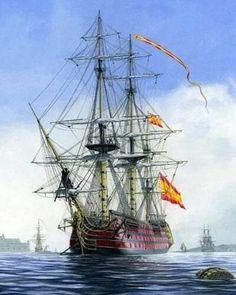 La Pintura y la Guerra. Sursumkorda in memoriam Pirate Art, Pirate Crafts, Pirate Ships, Bateau Pirate, Old Sailing Ships, Ship Of The Line, Ship Paintings, Naval History, Wooden Ship