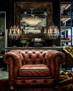 Chesterfield Sofa… The True Icon Of Classic Time! Man Cave Room, Man Cave Basement, Rustic Basement, Man Cave Home Bar, Basement Stairs, Whiskey Room, Whiskey Lounge, Man Cave Fireplace, Rustic Man Cave