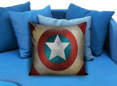 Hot shield captain america Pillow Case Pillow Cover Printed 18x18 16x24 20x30 Modern Pillow Case Decorative Throw Pillow Case One Side Printing   These soft pillowcase made of 50% cotton, 50% polyester.  It would be perfect to decorate your home by using our super soft pillow cases on sofa, chair, bench or bed.  Customizable pillow case is both comfortable and durable, improving the quality of your sleep with these comfortable pillow case, take it home now!  Custom Zippered Pillow Cases…