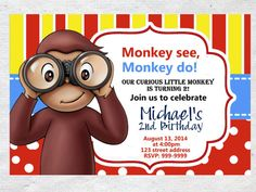 Hey, I found this really awesome Etsy listing at https://www.etsy.com/listing/216172045/curious-george-birthday-invitation