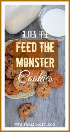 Feed the Monster Cookies! Gluten free cookies that your kids will love. The great part about this recipe is that you can add all sorts of goodies. They can be made in a huge batch and frozen (for cookie emergencies!) too. They feed the hungry cookie monster in all of us.  realfoodrn.com